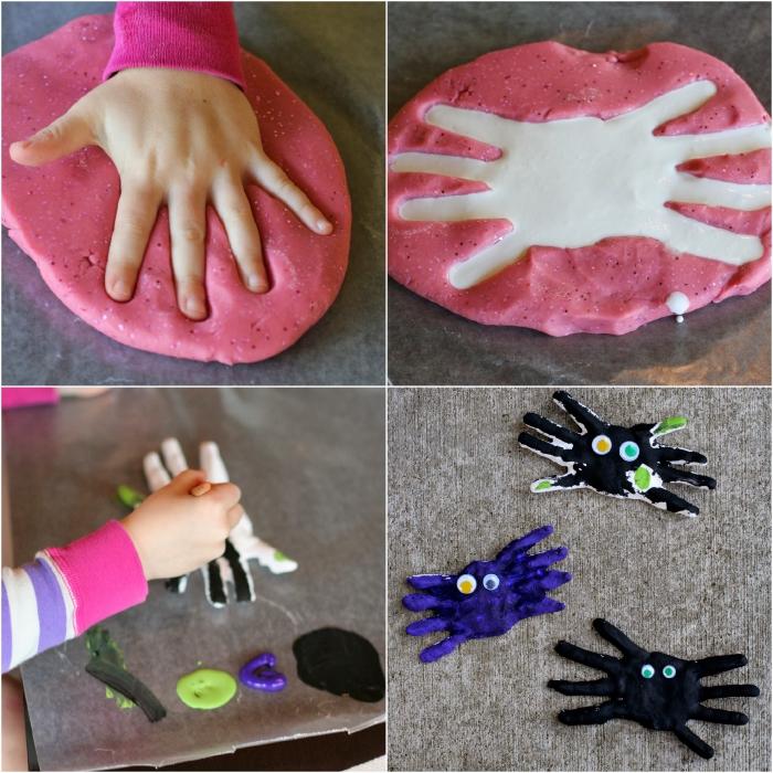 des araignées d'halloween avec les empreintes de main de l'enfant en pâte auto-durcissante à l'air, bricolage halloween en maternelle facile et amusant