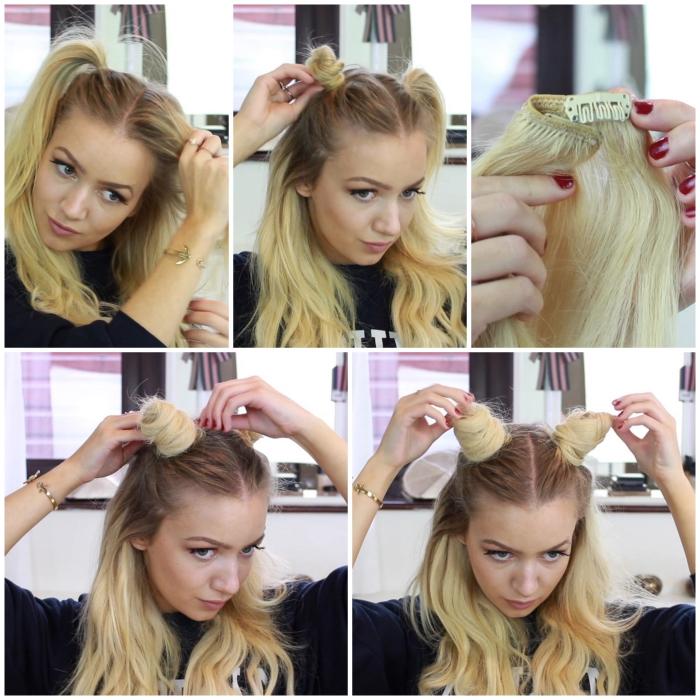 tuto coiffure d'halloween facile pour faire des fausses cornes à l'aide d'une extension cheveux qui compléteront parfaitement un déguisement diablesse