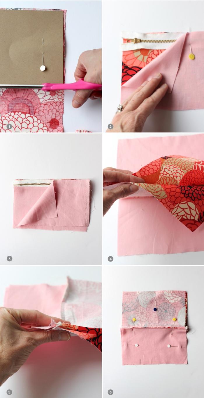 tuto trousse de toilette à coudre soi-même, la couture facile d'une fermeture à glissière