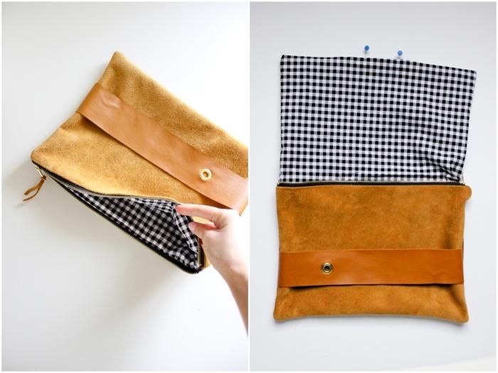 tuto couture pochette zippée et doublée en tissu contrastant à motif vichy, avec lanière centrale pour y glisser sa main