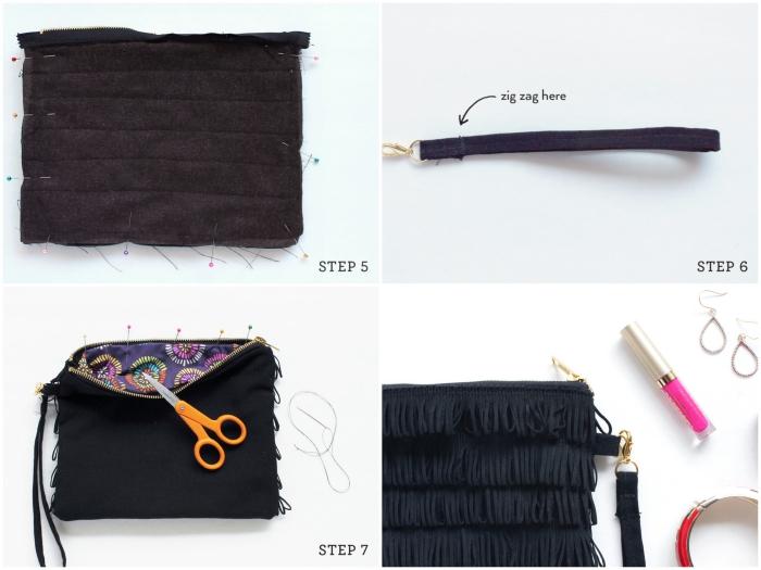 tuto couture pochette pour débutants, apprendre à coudre une pochette zippée en tissu à franges