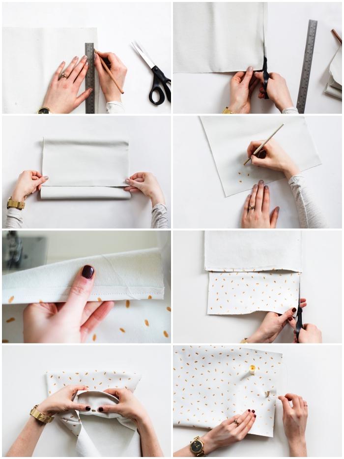 tuto couture facile pour réaliser une pochette en simili cuir blanc avec fermeture à bouton pression et à motifs dorés peints