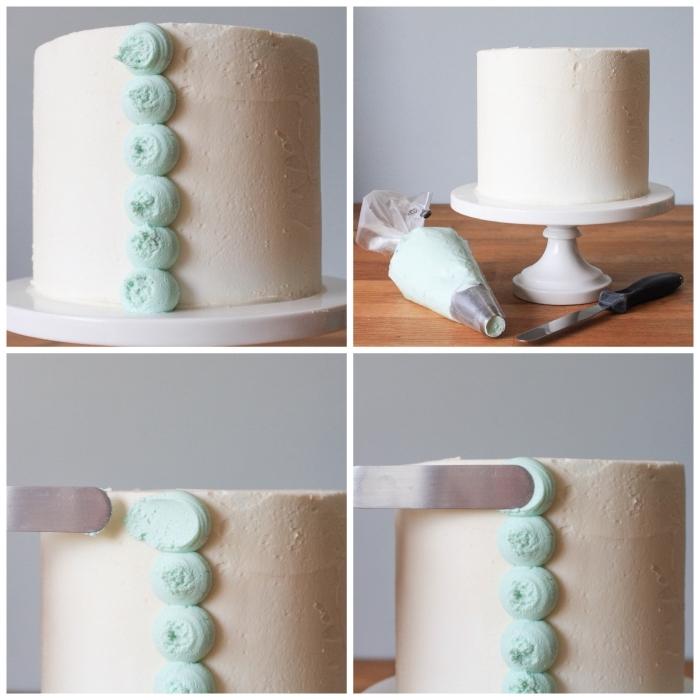 idée pour réaliser un décor à la poche à douille en forme de pétales à la crème au beurre, décoration gateau anniversaire à la poche à douille