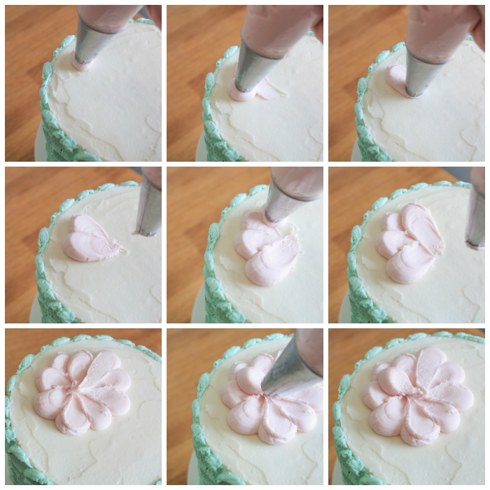 étape finale de ma décoration gateau anniversaire aux pétales de rose, comment réaliser une fleur en glaçage à l'aide d'une poche à douille