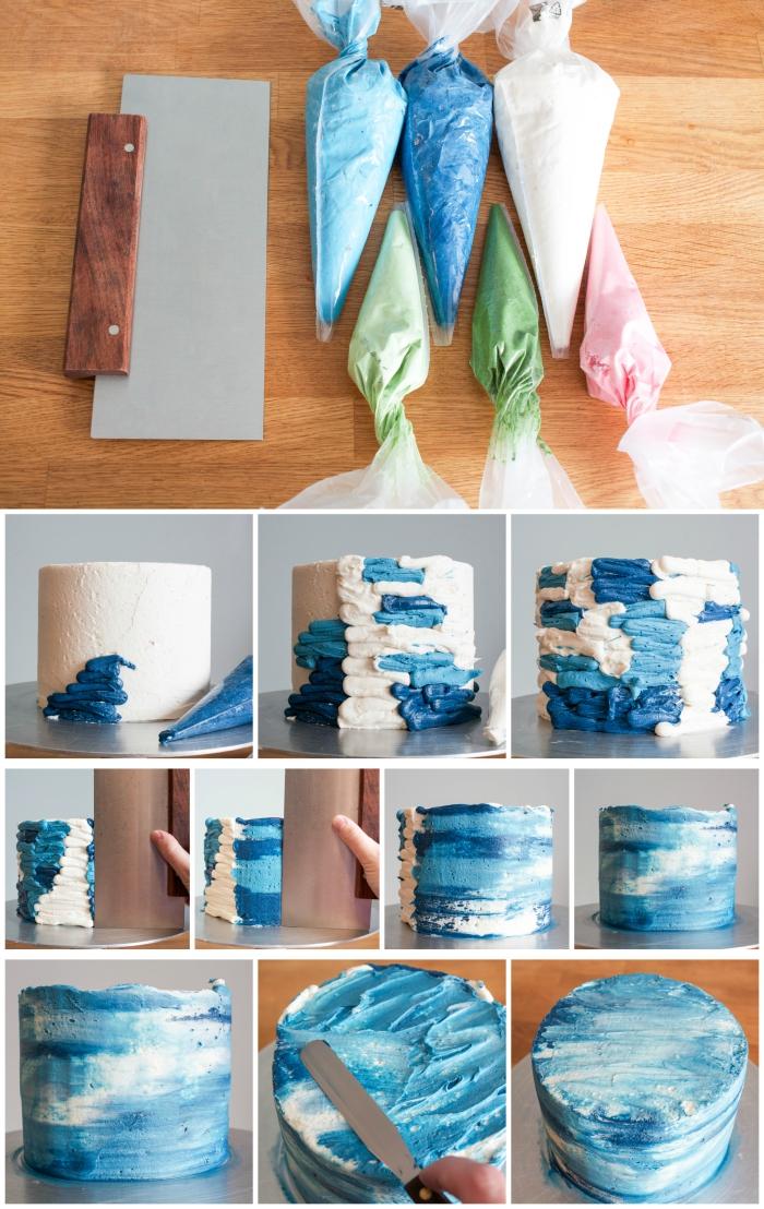 décoration gateau anniversaire originale et artistique en glaçage à la crème au beurre blanc et bleu effet aquarelle, gâteau d'anniversaire les nymphéas
