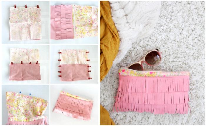 pochette diy en tissu floral avec franges, comment faire une pochette en tissu facile avec décoration franges en tissu