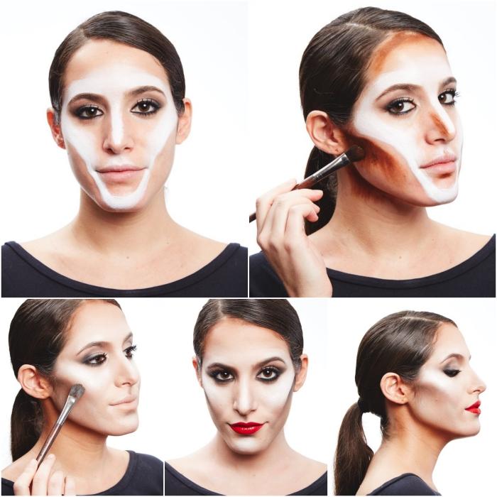 tuto maquillage halloween pour faire le visage sculpté de la sorcière maléfique du film de disney en quelques pas simples