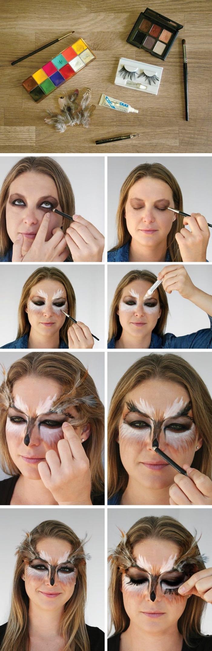 maquillage animalier facile et rapide avec un masque hibou peint autour les yeux, décoré avec des plumes