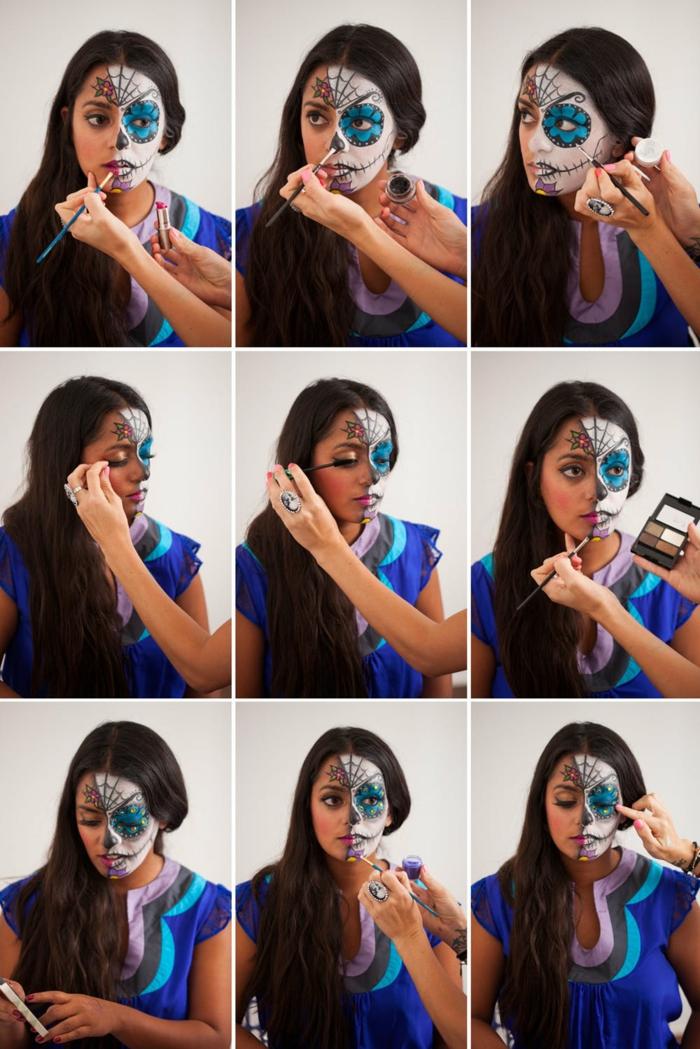 tuto maquillage halloween, demi crâne en noir et bleu sur un fond noir, toile d'arraignée
