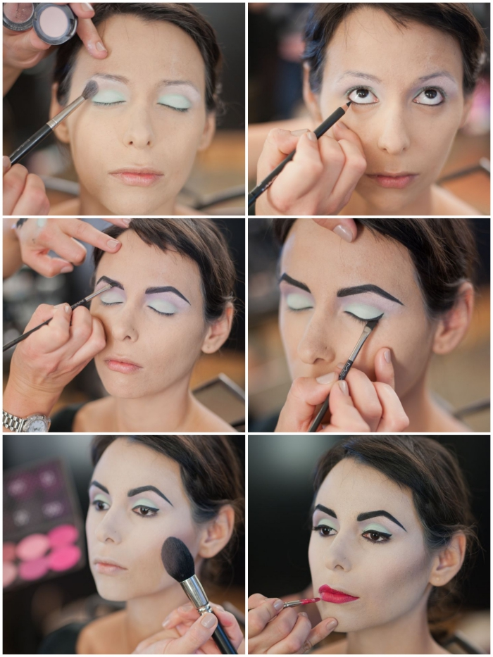 tuto maquillage halloween facile reine male fique disney aplication ombre a  paupie res fard sourcils teint et rouge a  le vre