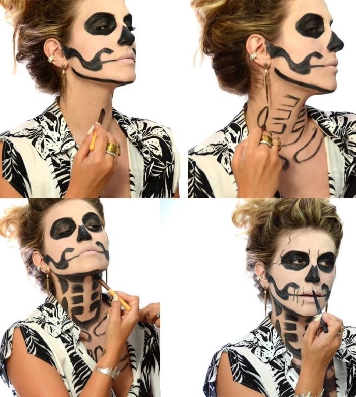 tuto maquillage halloween pour un look qui fait peur, les détails finaux du maquillage squelette femme du visage et du cou