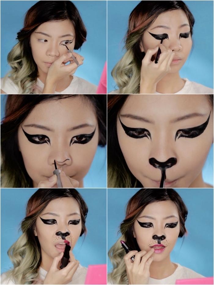 déguisement halloween filtre snapchat, tuto maquillage halloween chat réalisé avec un eye-liner noir, rouge à lèvre et poudre bronzante