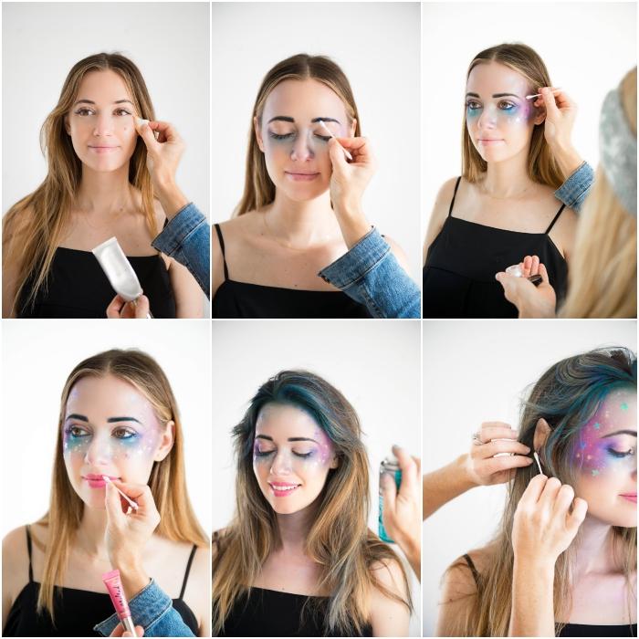 tuto maquillage halloween pour faire un visage galaxie d'un teint lumineux à l'aide des fards à paupières nacrés en violet et bleu