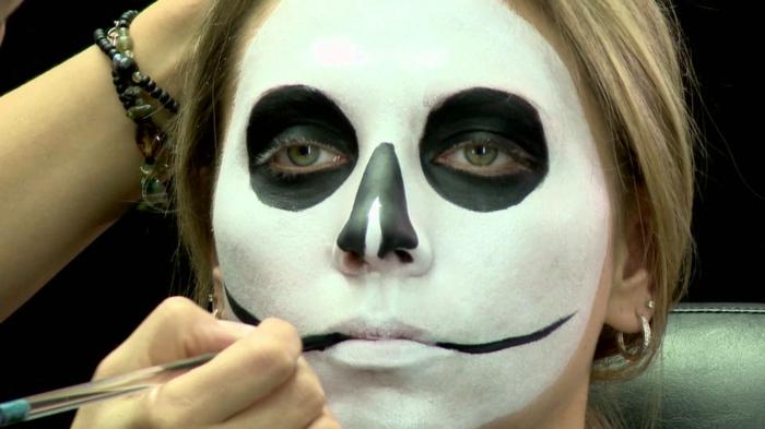 maquillage terrifiant halloween, traces noires aux creux des joues, cercles noirs autour des yeux