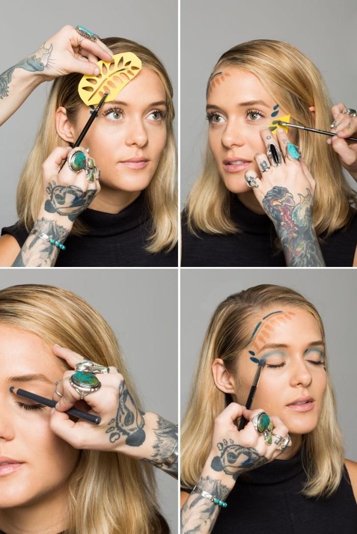 idée originale pour un maquillage halloween facile avec des formes géométriques dessinées au front à l'aide d'un pochoir inspiré de matisse