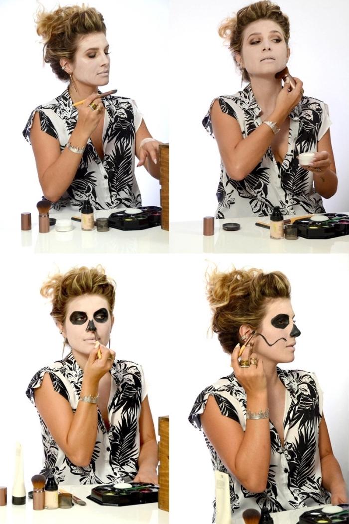 tuto étape par étape pour réaliser un maquillage squelette en utilisant que du fard noir et fard blanc, idée de déguisement pour femme