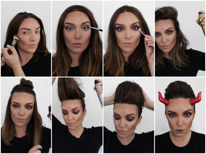 tuto maquillage halloween pour se transformer en diablesse glamour, maquillage des yeux effet smoky eye en rouge et noir