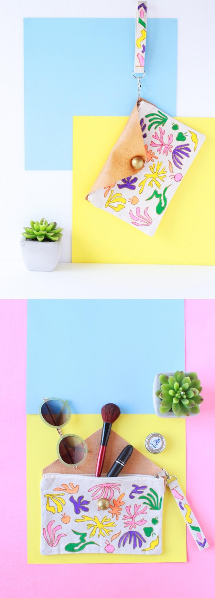 comment faire une pochette en tissu facile, une pochette en coton canvas personnalisée, à rabat en simili cuir et à motifs matisse dessinés au crayon et colorés