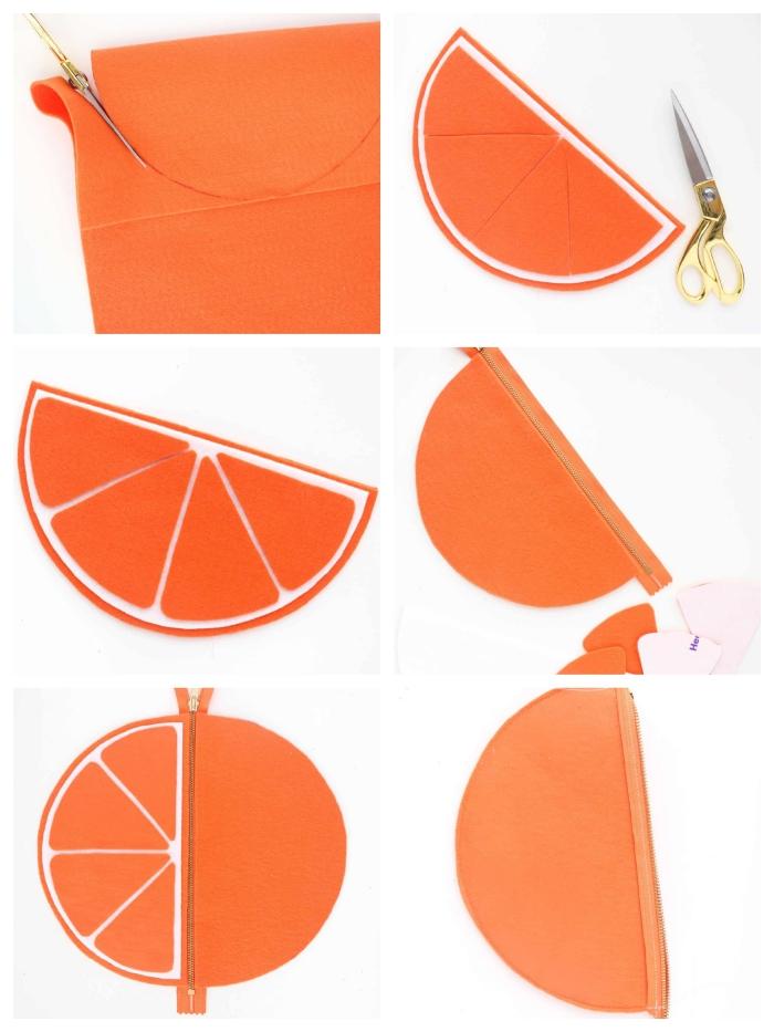 tuto sac pour collations original en feutre orange, en forme de mandarine, avec fermeture éclair collée directement sur la pièce de feutre