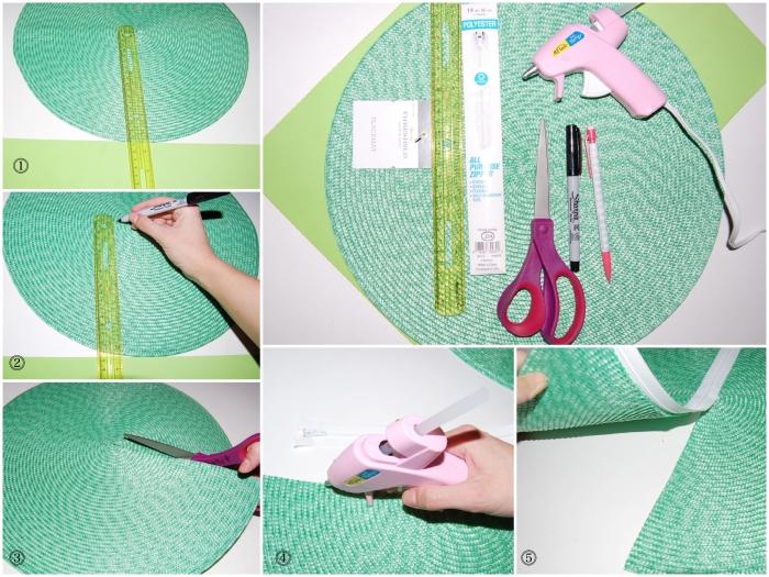 idée diy pochette de fantaisie en forme de citron vert réalisée à partir d'un set de table ,avec fermeture éclair
