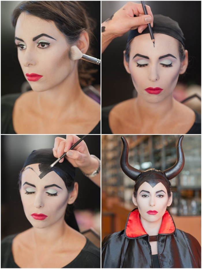 tuto reine male fique maquillage halloween facile fausses cornes de guisement adulte disney