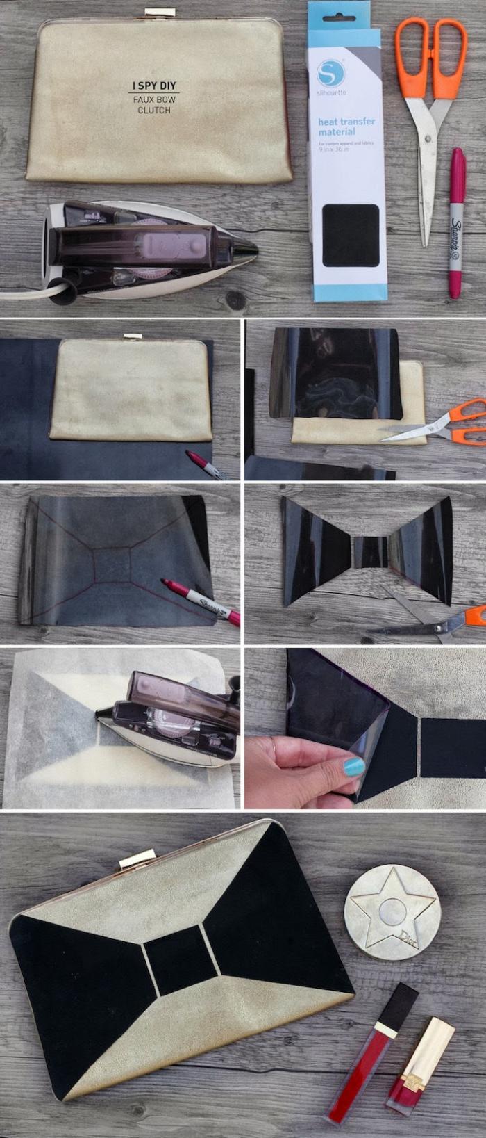 mille et une idées pour personnaliser une pochette, tuto sac pochette à fermoir personnalisé avec un faux noeud en papier transfert noir