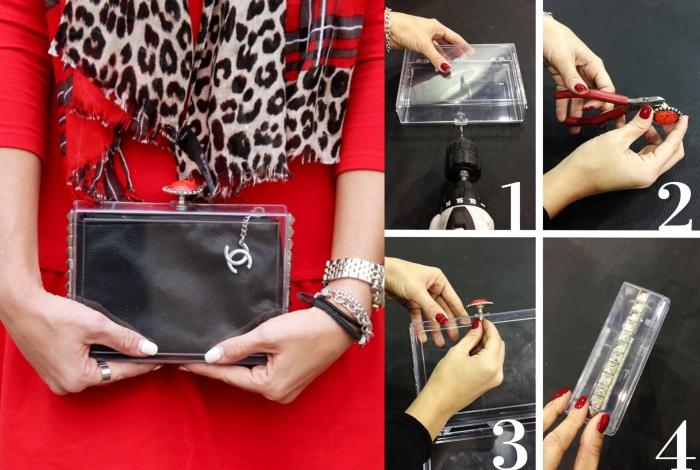 idée originale pour personnaliser une pochette rigide en pvc transparente, tuto sac pochette transparente customizé avec des clous et un fermoir bijou