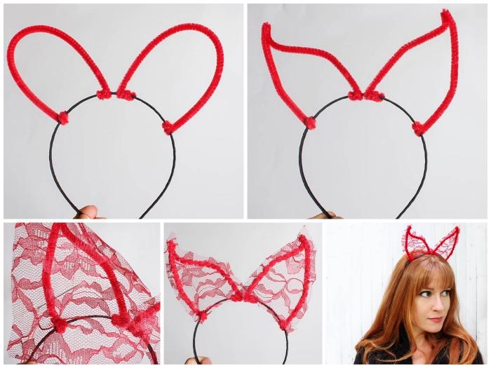 comment faire un serre-tête cornes de diable en dentelle rouge et fil chenille pour un déguisement diablesse glamour