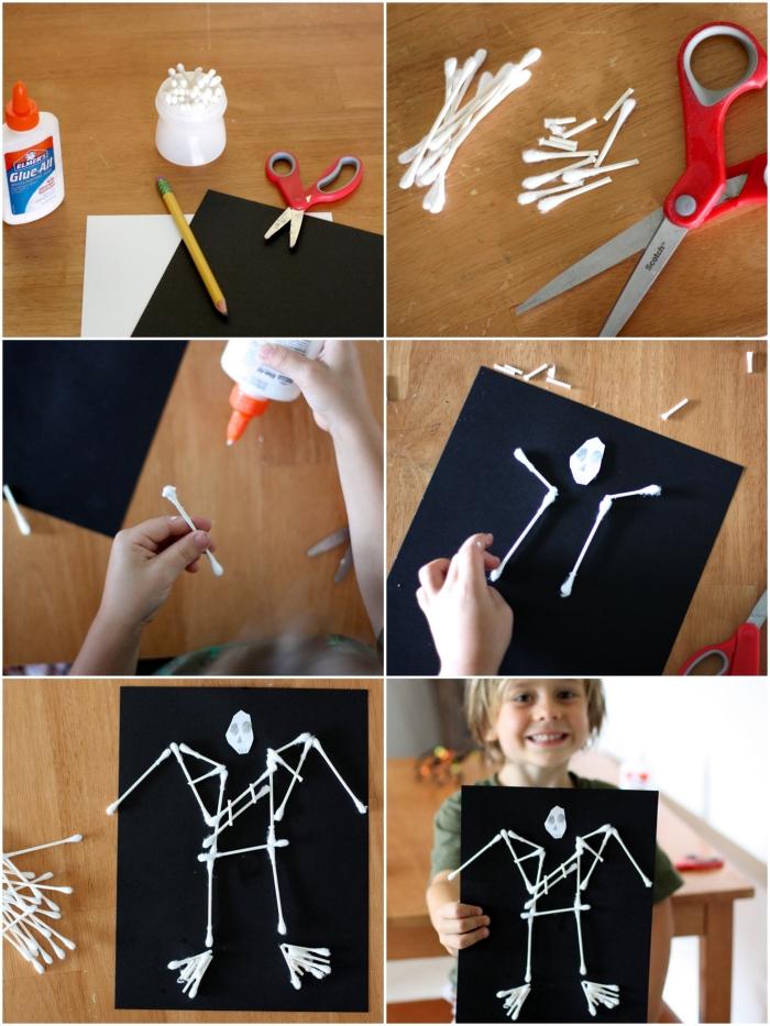 idée d'activité manuelle halloween sur le thème d'halloween, une squelette d'halloween réalisée avec des coton-tiges collées sur un carton noir
