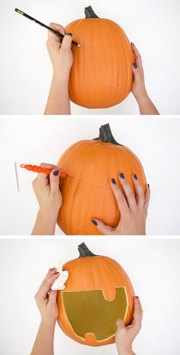 étapes à suivre pour apprendre à creuser une citrouille facilement, objet de déco pour la fête halloween avec une citrouille