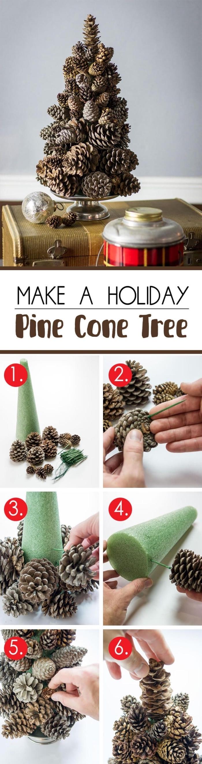 étapes à suivre pour apprendre comment réaliser un sapin en pomme de pin, diy mini sapin en pommes de pins