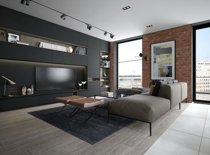 salon contemporain en gris et noir, tapis gris anthracite, mur noir avec étagère intégrée, grandes fenêtres
