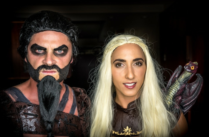 déguisement Game of Thrones, maquillage de couple halloween, daenerys et khal drogo, duo celebre cinema