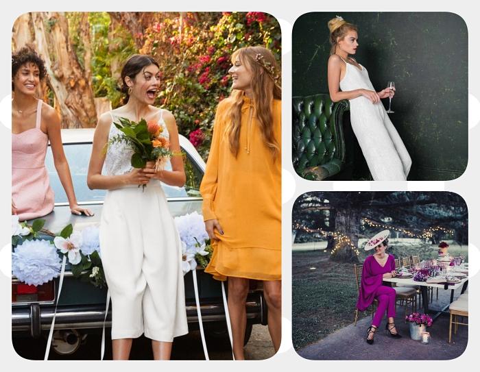 exemple comment s'habiller pour un mariage, modèle de combinaison de mariée avec bretelle et jambes culottes
