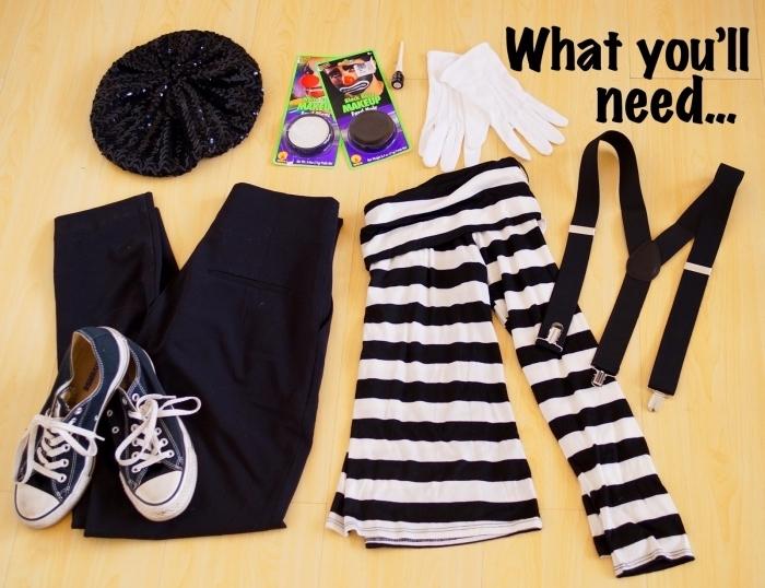 quels vêtements et accessoires combiner pour un deguisement halloween maison facile, costume de mime en pantalon noir et blouse rayée