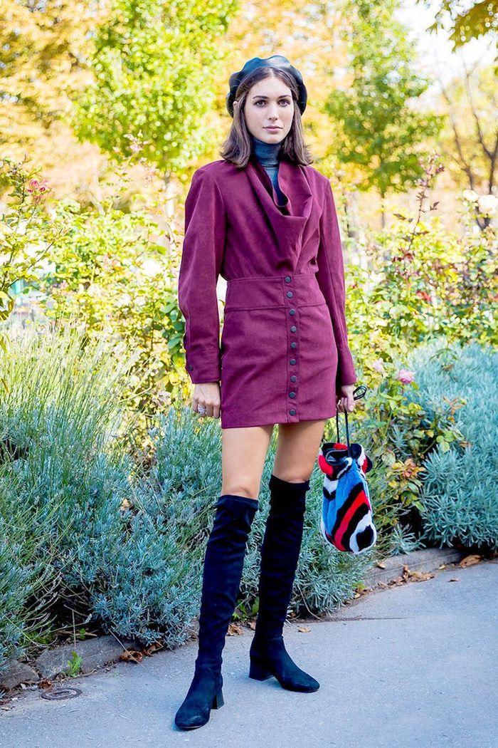 Cuissarde en velours, vintage tenue, comment porter des cuissardes automne, look cuissardes plates