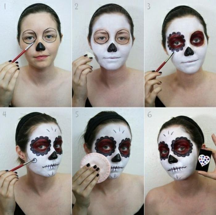jeune fille maquillée en trois couleurs, tête de squelette mexicaine, fleurs bicolores autour des yeux