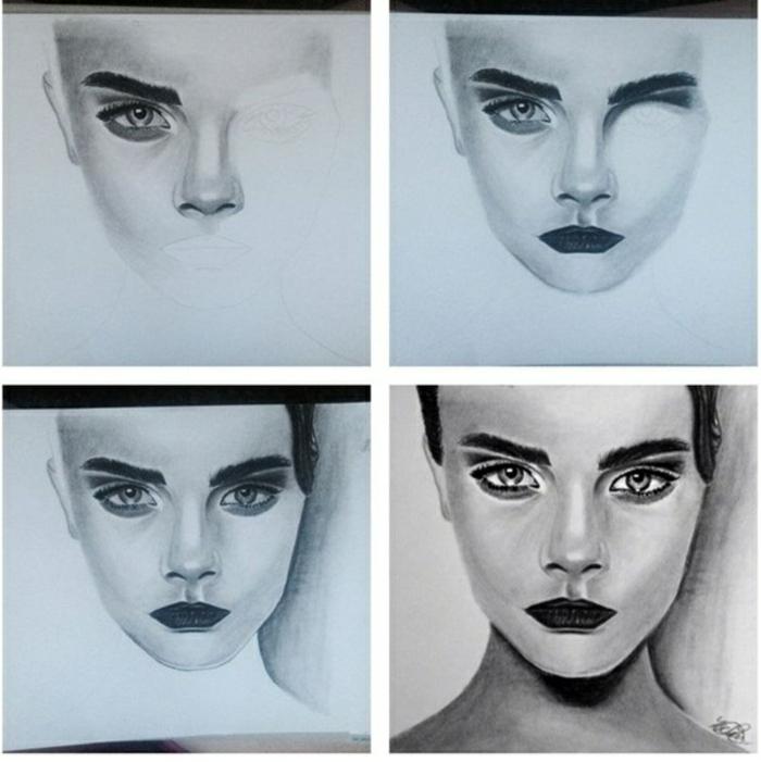Dessin au fusain, dessins fusain simple, comment dessiner comme un artiste, visage de femme, modèle Cara Delavigne