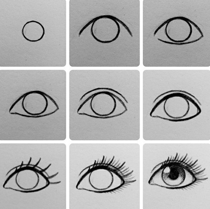 Beau modele dessin a dessiner, dessin au fusain, cool art noir et blanc, comment dessiner des yeux, simple tutoriel