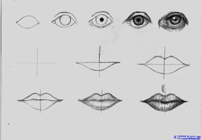 Comment faire un dessin fusain, les parties du visage, dessin au fusain lèvres et yeux, cool idée quoi dessiner