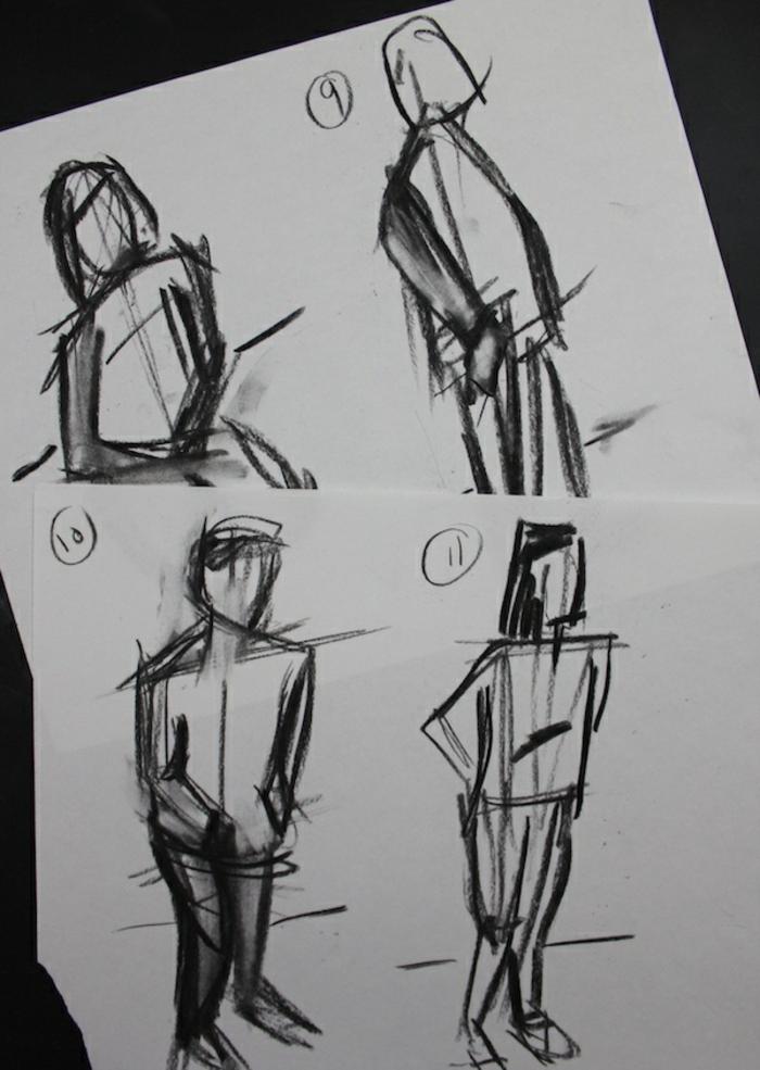 Le dessin facile a reproduire, dessin au fusain, artistique et expressive, figure d'homme pas à pas