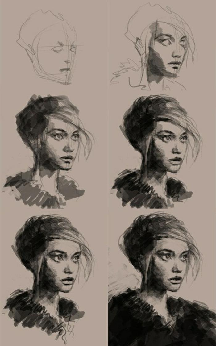 Dessin débutant visage, dessin au fusain femme portrait, idée comment dessiner au fusain étape par étape