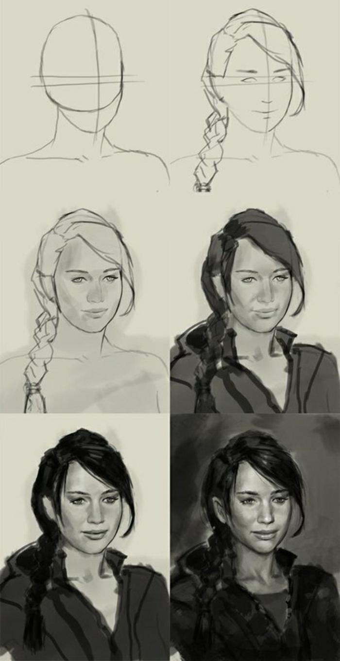 Dessin pour debutant, au fusain idée de dessin noir et blanc facile, portrait étape par étape. femme célèbre dessin