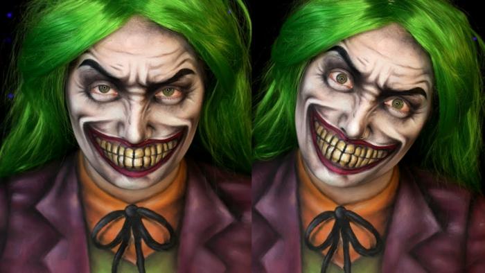 cheveux verts, costume Joker reconnaissable, papillon noir, lèvres terrifiantes avec dents montrées