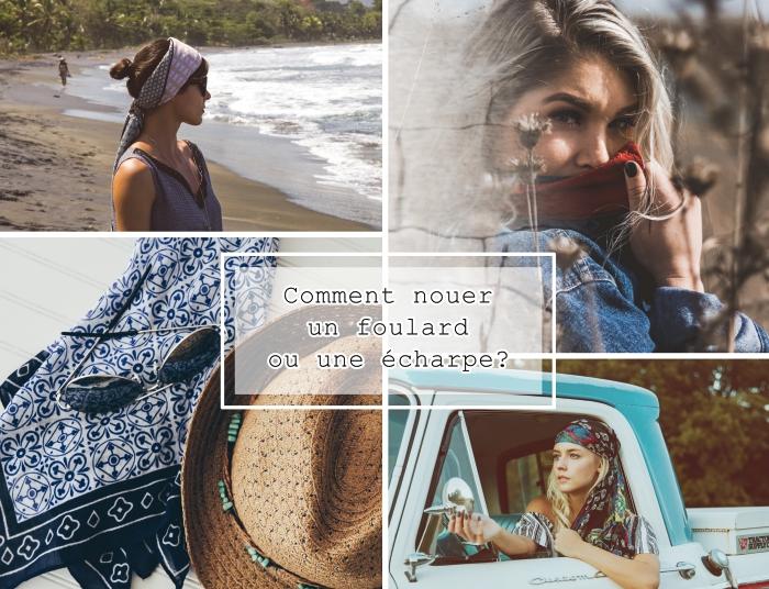 f73b6714f25a coiffure avec foulard cheveux femme, accessoires tendance avec capeline  beige et foulard bleu marine et