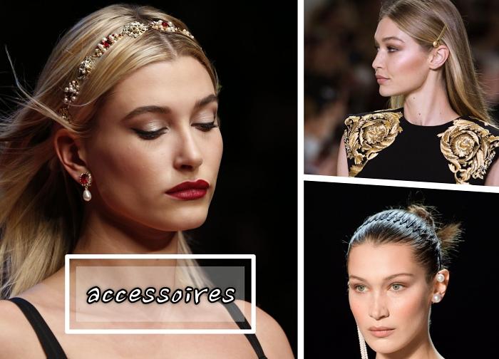 coiffure mi long femme aux cheveux attachés en chignon messy haut, idée couronne de tête bijoux tendance 2018