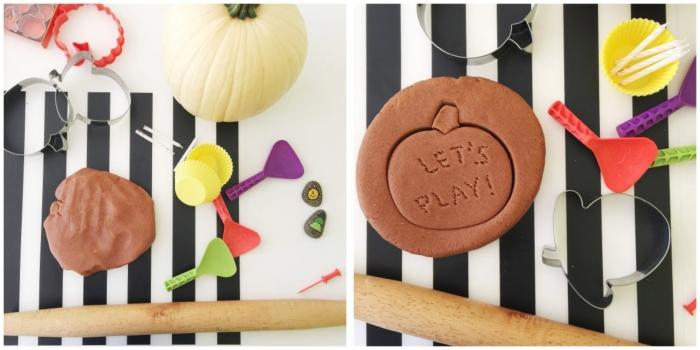 comment faire de la pâte à modeler d'automne parfumée à la citrouille, activités de modelage avec de la pâte play dough faite maison