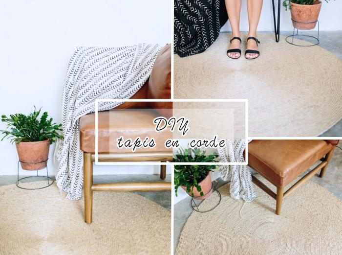 modèle de tapis de jeu enfant ou déco stylée, faire un tapis rond en corde, déco bohème chic avec tapis fait main en corde en spirale
