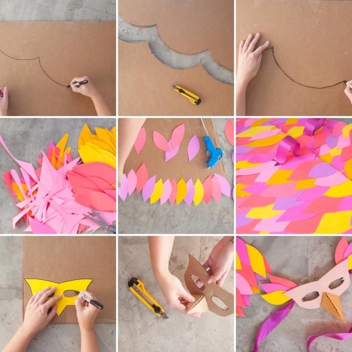 tutoriel facile pour deguisement halloween maison, étapes à suivre pour créer des ailes en carton décorées de papier coloré