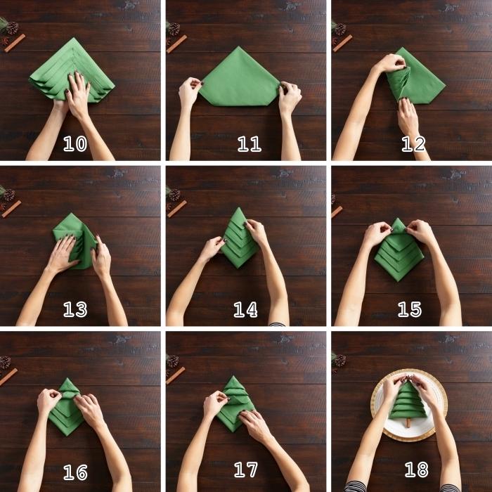 étapes à suivre pour réaliser une jolie déco de table de Noel avec pliage de serviette en tissu vert en forme de sapin
